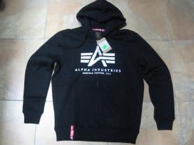 Alpha Industries, hrubá čierna mikina na zips s kapucou a tlačeným logom s klokankovým vreckom vpredu 80%bavlna 20%polyester