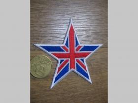 Hviezda Union Jack - Britská vlajka nažehľovacia nášivka vyšívaná (možnosť nažehliť alebo našiť na odev) cca. 8x8cm