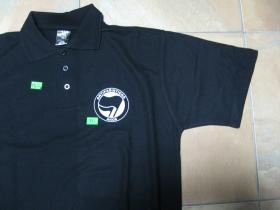 Antifašistická akce, pánska polokošeľa čierna 65%bavlna, 35%polyester  na chrbáte je veľké logo