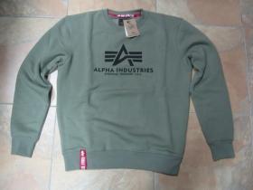 Alpha Industries, olivová mikina bez kapucne s tlačeným logom 80%bavlna 20%polyester