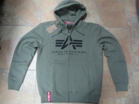 Alpha Industries, hrubá olivová mikina na zips s kapucou a tlačeným logom s klokankovým vreckom vpredu 80%bavlna 20%polyester