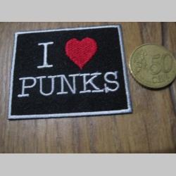 I love Punks nažehľovacia nášivka vyšívaná (možnosť nažehliť alebo našiť na odev) rozmer 5x6cm