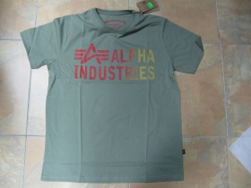 Alpha Industries  pánske tričko, olivovozelené 100%bavlna
