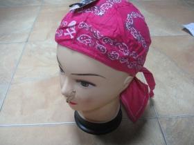 Šatka BANDANA ROCK so zaväzovacími šnúrkami vzadu, ružová 100%bavlna, univerzálna veľkosť