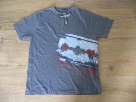 Alchemy šedé pánske tričko materiál 100% bavlna posledný kus veľkosť L