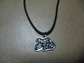 Punks not Dead kovový chrómovaný prívesok na plastikovej šnúrke s kovovým zapínaním
