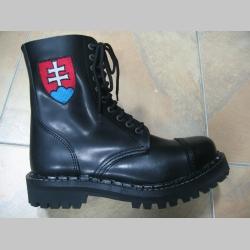 Kožené topánky Steadys 10. dierové čierne s prešívanou oceľovou špičkou a vyšívaným bočným slovenským znakom na oboch topánkach
