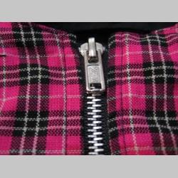 Dámska bunda HARRINGTON, vpredu ružový Tartan károvanie a s čiernou podšívkou vo vnútri