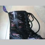 Kožené topánky Steadys 10. dierové čierne s prešívanou oceľovou špičkou a britskými vlajkami po celom povrchu