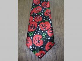 čierno-oranžová kravata so vzorom Halloween - tekvice šachovnica - maximálna šírka 8cm minimálna šírka 3cm materiál 100% hodváb