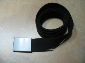 čistý čierny hrubý látkový opasok so zapínaním na posuvnú kovovú pracku, univerzálna nastaviteľná dĺžka,  šírka 37mm