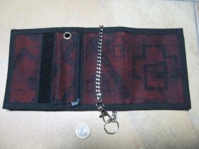 Rammstein, hrubá pevná textilná peňaženka s retiazkou a karabínkou