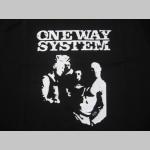 One Way System  čierna mikina s kapucou stiahnutelnou šnúrkami a klokankovým vreckom vpredu