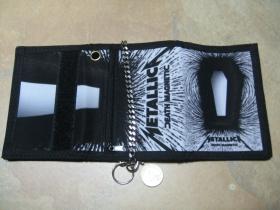 Metallica, hrubá pevná textilná peňaženka s retiazkou a karabínkou