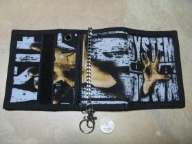 System of a Down, hrubá pevná textilná peňaženka s retiazkou a karabínkou