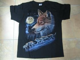 Vlk  čierne pánske tričko 100%bavlna