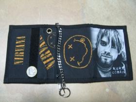 Nirvana, Kurt Cobain, hrubá pevná textilná peňaženka s retiazkou a karabínkou