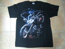 smrtka - kostlivec na motorke čierne pánske tričko 100%bavlna