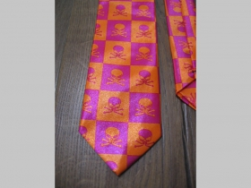 Fialovooranžová kravata so vzorom smrtky - lebky - maximálna šírka 8cm minimálna šírka 3cm materiál 100% hodváb