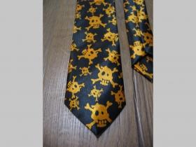 čiernooranžová kravata so vzorom smrtky - lebky - maximálna šírka 8cm minimálna šírka 3cm materiál 100% hodváb