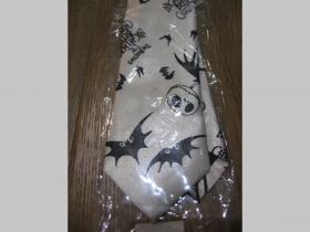 čiernobiela kravata so vzorom Nightmare - maximálna šírka 8cm minimálna šírka 3cm materiál 100% hodváb