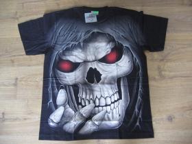 """Smrtka - lebka """" TATTOO """" čierne pánske tričko """" Full Print """" materiál 100% bavlna posledný kus veľkosť XL"""
