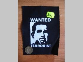 Wanted Terrorist potlačená nášivka cca.12x12cm (po krajoch neobšívaná)