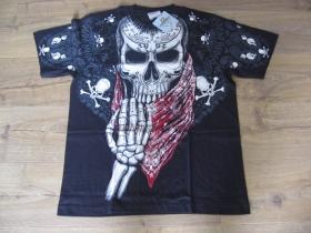 """Smrtka - lebka """" TATTOO """" čierne pánske tričko """" Full Print """" materiál 100% bavlna posledný kus veľkosť L"""