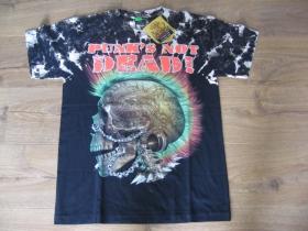 """Punks not Dead  Smrtka - lebka """" TATTOO """" čierne pánske vybíjané tričko """" Full Print """" materiál 100% bavlna posledný kus veľkosť M"""