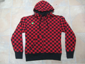 Dámska Mikina na zips s kapucou - červenočierna šachovnica SKA káro 100%bavlna