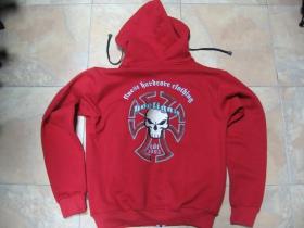 Hooligan TEMPLAR hrubá pánska mikina, červená 80%bavlna 20%polyester-pohľad zozadu