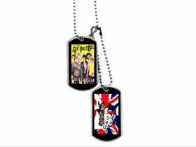 """Sex Pistols Dvojitý kovový prívesok na krk """"Dog Tag"""" s dvomi známkami a s dvomi farebnými motívmi"""