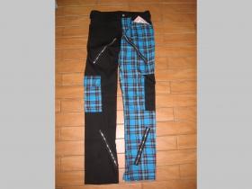 Nohavice PUNK, škótske káro modročierne, 98%bavlna 2%elastan