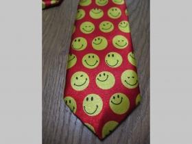 žltočervená kravata so vzorom SMILE - smajlík materiál 100% hodváb