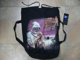 Death sťahovací plátený  batoh s polyesterovámi širokými popruhami vzadu pre nasadenie nachrbát, rozmery cca. 60x40cm  materiál 100%bavlna
