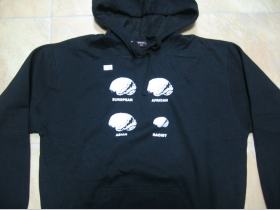 Antirasist-  štyri Mozgy  mikina s kapucou stiahnutelnou šnúrkami a klokankovým vreckom vpredu 80%bavlna 20 %polyester