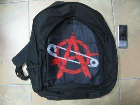 Anarchy ruksak čierny, 100% polyester. Rozmery: Výška 42 cm, šírka 34 cm, hĺbka až 22 cm pri plnom obsahu
