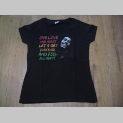 Bob Marley - One Love one Heart  čierne dámske tričko materiál 100% bavlna