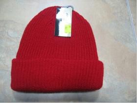 Zimná čiapka - červená hrubá 100% akryl univerzálna veľkosť