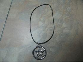Pentagram - Bafonet   kovový chrómovaný prívesok na krk na plastikovej šnúrke s kovovým zapínaním