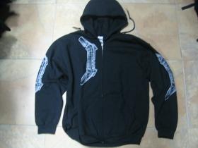 Metallica čierna pánska mikina na zips s kapucou 70%bavlna 30%viskóza