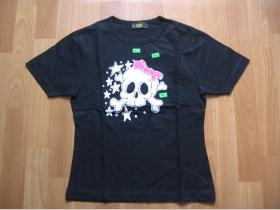 Lebka s mašľou  čierne dámske tričko 100%bavlna
