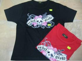 Rebel Girls dámske tričko červené/čierne 100 % bavlna