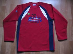 Steady's pánska mikina - červeno-modrobiela s vyšívaným logom, 100% polyester, posledný kus veľkosť M