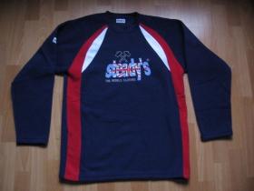 Steady's pánska mikina - modro-červenobiela s vyšívaným logom, 100% polyester posledný kus veľkosť M