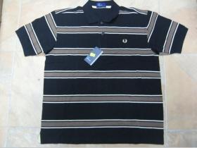 Fred Perry - polokošeľa čierno-béžovo-hnedá 100%bavlna, posledné kusy veľkosti S, XL