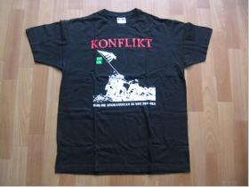 Konflikt,  čierne pánske tričko 100%bavlna.