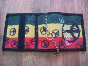 Rasta Peace  hrubá pevná textilná peňaženka s retiazkou a karabínkou