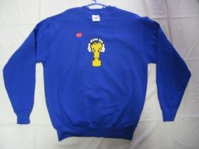 Make music not war, pánska mikina FRUIT OF THE LOOM s tlačeným logom 80%bavlna 20%polyester, farba ROYAL BLUE posledný kus veľkosť M
