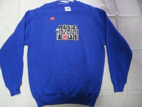 Music is a meal, pánska mikina FRUIT OF THE LOOM s tlačeným logom 80%bavlna 20%polyester, farba ROYAL BLUE posledný kus veľkosť M